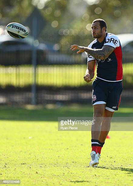 Blake Ferguson of the Roosters trains during a Sydney Roosters NRL training session at Kippax Lake on March 4 2015 in Sydney Australia