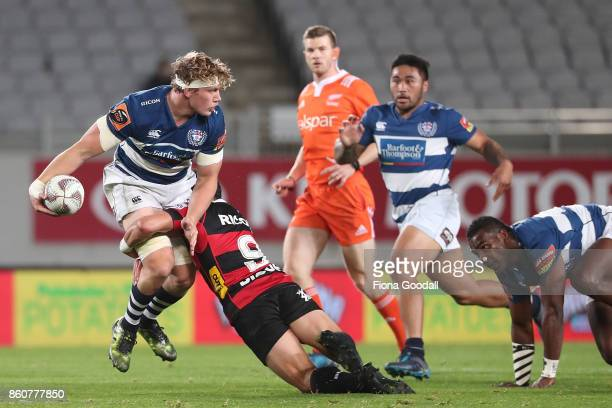 Blake Gibson of Auckland looks to pass during the round nine Mitre 10 Cup match between Auckland and Canterbury at Eden Park on October 13 2017 in...