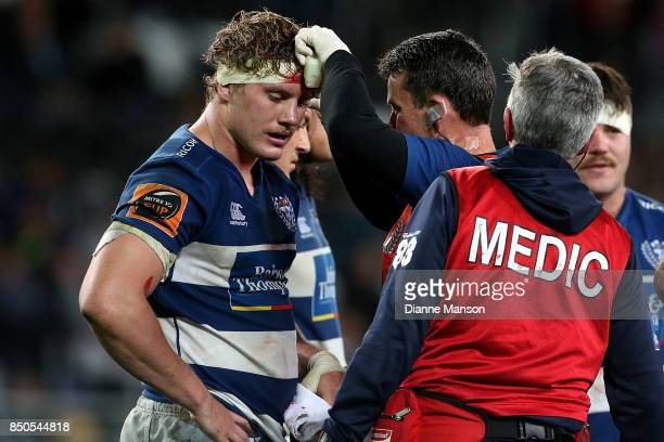 Blake Gibson of Auckland recieves treatment for an injury during the round six Mitre 10 Cup match between Otago and Auckland at Forsyth Barr Stadium...