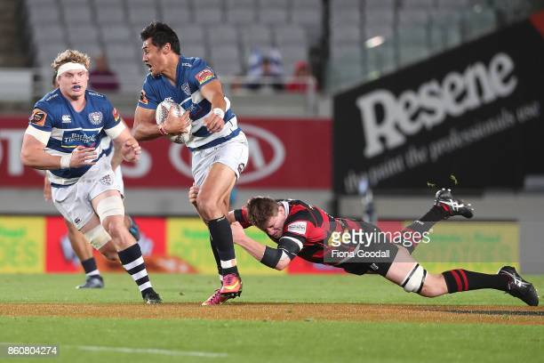 Blake Gibson of Auckland waits for a pass from Melani Nanai of Auckland during the round nine Mitre 10 Cup match between Auckland and Canterbury at...