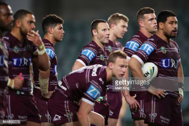 Blake Green of the Sea Eagles and team mates look dejected after the try to Tyrone Peachey of the Panthers during the NRL Elimination Final match...