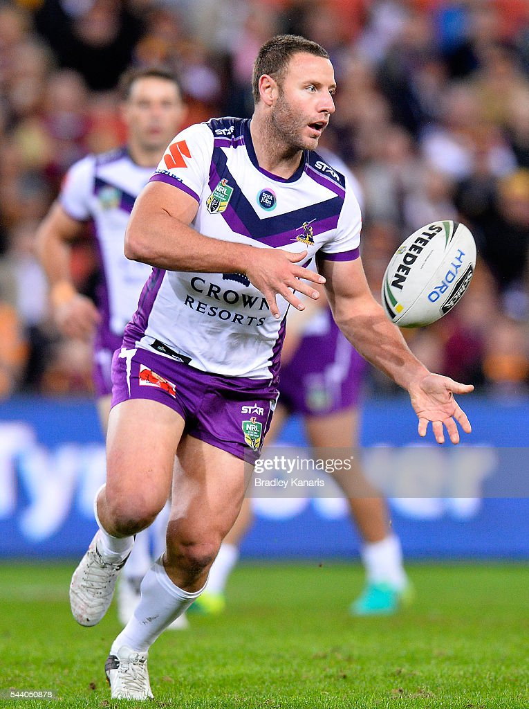 Blake Green of the Storm passes the ball during the round 17 NRL match between the Brisbane Broncos and the Melbourne Storm at Suncorp Stadium on July 1, 2016 in Brisbane, Australia.