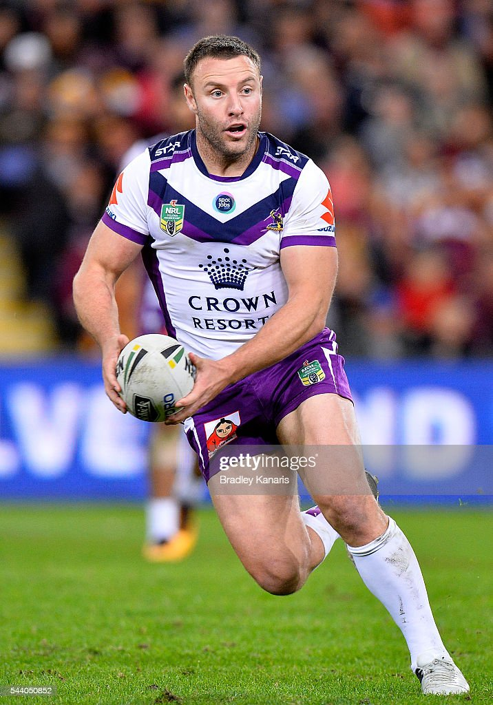Blake Green of the Storm runs with the ball during the round 17 NRL match between the Brisbane Broncos and the Melbourne Storm at Suncorp Stadium on July 1, 2016 in Brisbane, Australia.