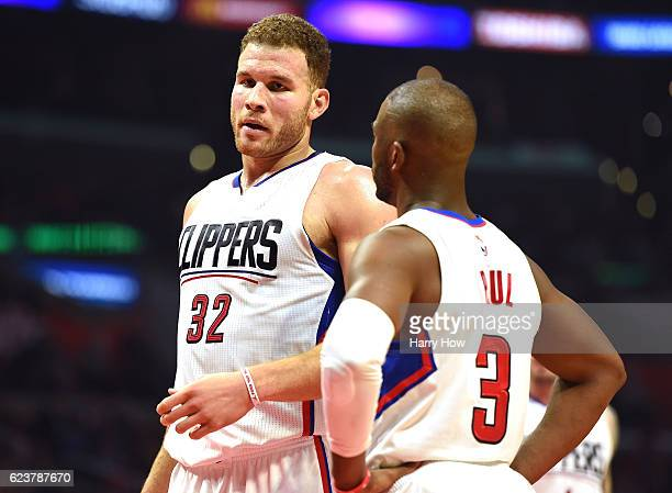 Blake Griffin and Chris Paul of the LA Clippers react after a Clipper foul during the first half against the Memphis Grizzlies at Staples Center on...