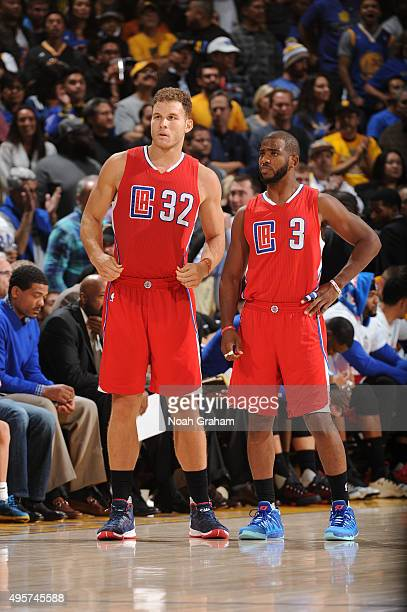 Blake Griffin and Chris Paul of the Los Angeles Clippers as they face the Golden State Warriors on November 4 2015 at Oracle Arena in Oakland...