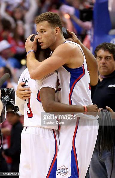 Blake Griffin and Chris Paul of the Los Angeles Clippers embrace after defeating the Oklahoma City Thunder in Game Four of the Western Conference...