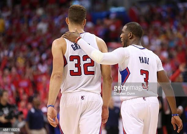 Blake Griffin and Chris Paul of the Los Angeles Clippers walk together on the court as the play the Golden State Warriors in Game Seven of the...