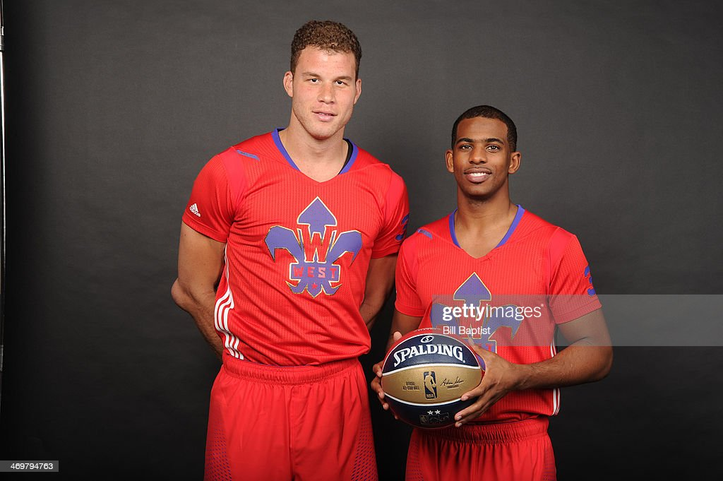 <a gi-track='captionPersonalityLinkClicked' href=/galleries/search?phrase=Blake+Griffin+-+Basketball+Player&family=editorial&specificpeople=4216010 ng-click='$event.stopPropagation()'>Blake Griffin</a> #32 (L) and <a gi-track='captionPersonalityLinkClicked' href=/galleries/search?phrase=Chris+Paul&family=editorial&specificpeople=212762 ng-click='$event.stopPropagation()'>Chris Paul</a> #3 ® of the Western Conference All-Stars poses for a portrait prior to the of the 2014 NBA All-Star Game on February 16, 2014 at the Smoothie King Center in New Orleans, Louisiana.