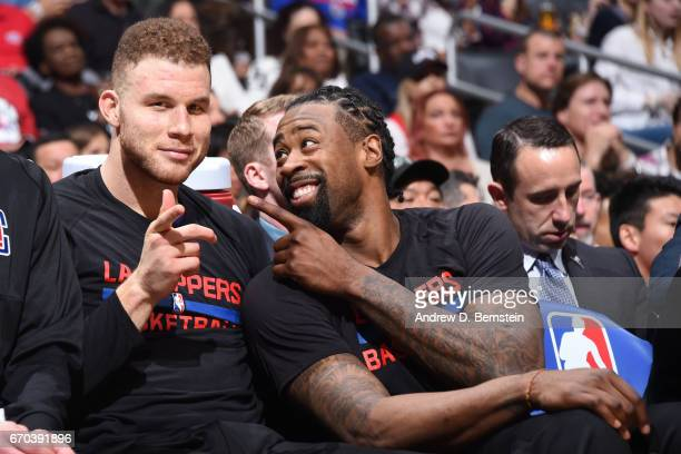 Blake Griffin and DeAndre Jordan of the LA Clippers pose for a picture during a game against the Cleveland Cavaliers on March 18 2017 at STAPLES...