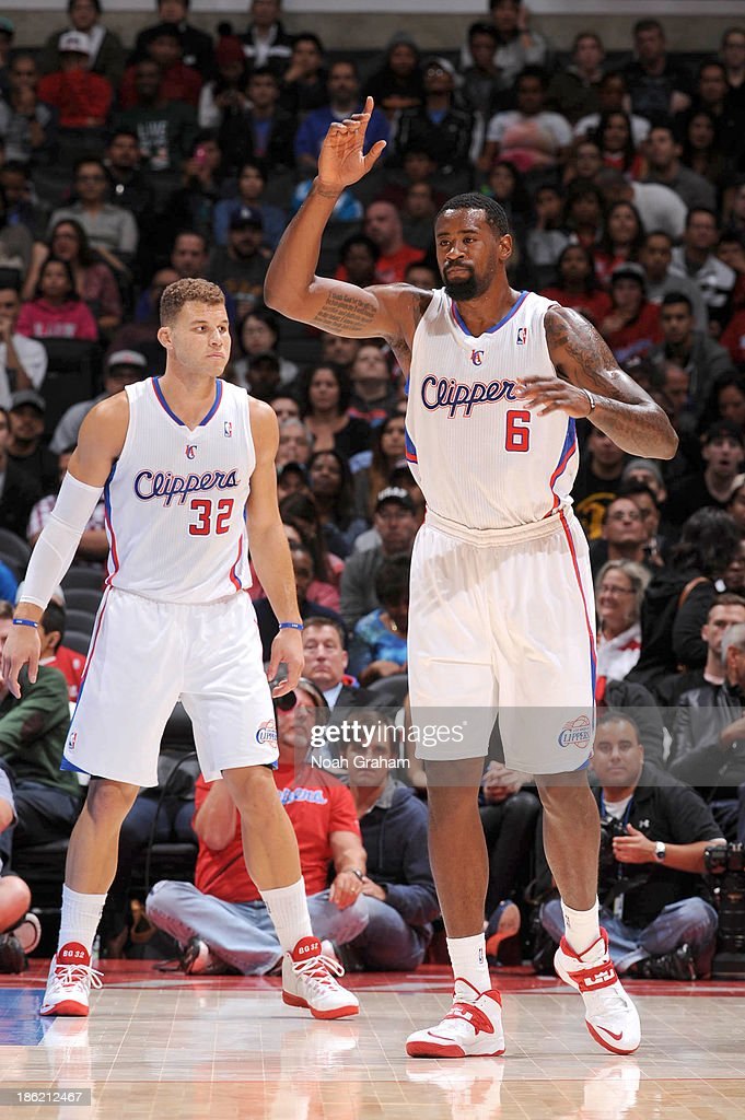 <a gi-track='captionPersonalityLinkClicked' href=/galleries/search?phrase=Blake+Griffin+-+Basketball+Player&family=editorial&specificpeople=4216010 ng-click='$event.stopPropagation()'>Blake Griffin</a> #32 and <a gi-track='captionPersonalityLinkClicked' href=/galleries/search?phrase=DeAndre+Jordan&family=editorial&specificpeople=4665718 ng-click='$event.stopPropagation()'>DeAndre Jordan</a> #6 of the Los Angeles Clippers look on against the Sacramento Kings at Staples Center on October 25, 2013 in Los Angeles, California.