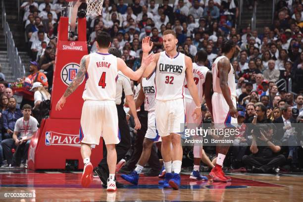 Blake Griffin and JJ Redick of the LA Clippers highfive during Game Two of the Western Conference Quarterfinals of the 2017 NBA Playoffs on April 18...