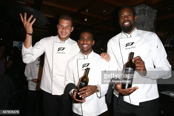 Blake Griffin Chris Paul and DeAndre Jordan attend The CP3 Foundation's Celebrity Server Dinner presented by Apollo Jets at Mastro's Steakhouse on...