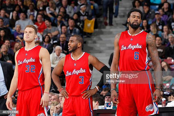 Blake Griffin Chris Paul and DeAndre Jordan of the Los Angeles Clippers face off against the Sacramento Kings on January 17 2015 at Sleep Train Arena...