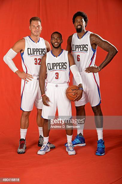 Blake Griffin Chris Paul and DeAndre Jordan of the Los Angeles Clippers pose for a portrait during media day at the Los Angeles Clippers Training...