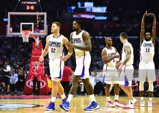 Blake Griffin DeAndre Jordan Chris Paul JJ Redick and Luc Richard Mbah a Moute of the Los Angeles Clippers take to the floor during a 11482 win over...