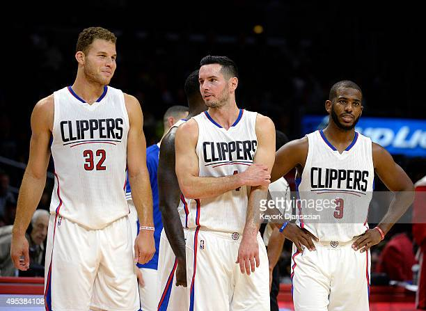 Blake Griffin JJ Redick and Chris Paul of the Los Angeles Clippers during the second quarter of their preseason basketball game against Portland...