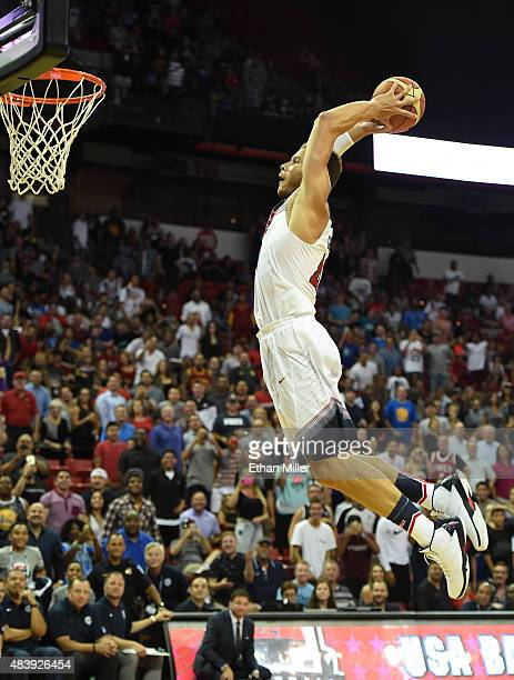 Blake Griffin of the 2015 USA Basketball Men's National Team attempts a dunk during a USA Basketball showcase at the Thomas Mack Center on August 13...