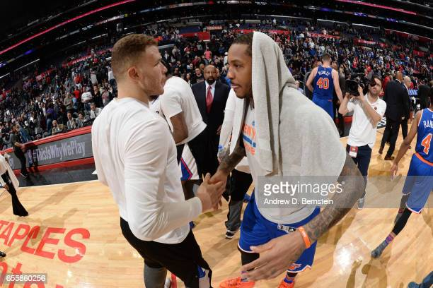 Blake Griffin of the LA Clippers and Carmelo Anthony of the New York Knicks are seen after the game on March 20 2017 at STAPLES Center in Los Angeles...