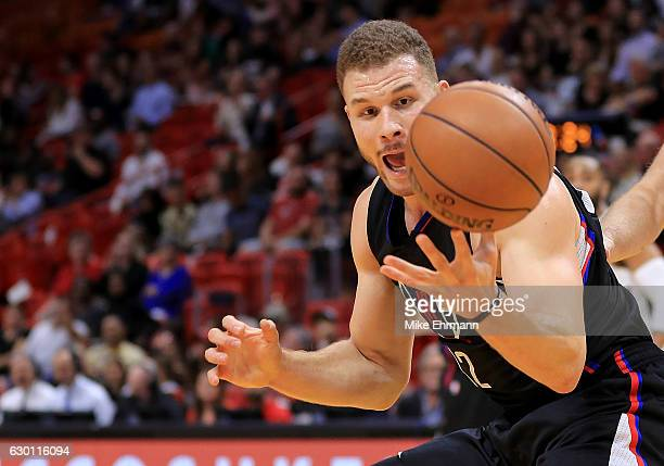 Blake Griffin of the LA Clippers chases down a loose ball during a game against the Miami Heat at American Airlines Arena on December 16 2016 in...