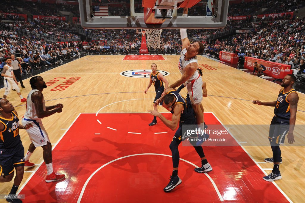 Blake Griffin #32 of the LA Clippers dunks the ball while guarded by Rudy Gobert #27 of the Utah Jazz on October 24, 2017 at STAPLES Center in Los Angeles, California.