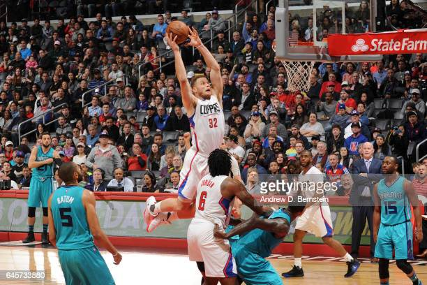 Blake Griffin of the LA Clippers goes up for a dunk against the Charlotte Hornets on February 26 2017 at STAPLES Center in Los Angeles California...