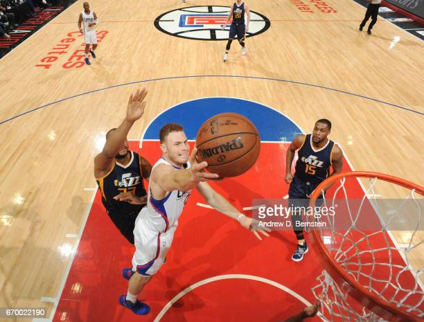 Blake Griffin of the LA Clippers goes up for a shot against the Utah Jazz during Game Two of the Western Conference Quarterfinals of the 2017 NBA...