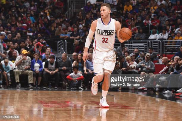 Blake Griffin of the LA Clippers handles the ball against the Los Angeles Lakers on April 1 2017 at STAPLES Center in Los Angeles California NOTE TO...