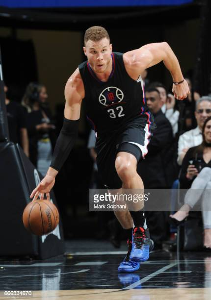 Blake Griffin of the LA Clippers handles the ball against the San Antonio Spurs during the game on April 8 2017 at the ATT Center in San Antonio...