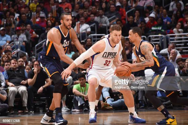 Blake Griffin of the LA Clippers plays defense during a game against the Utah Jazz on March 25 2017 at STAPLES Center in Los Angeles California NOTE...