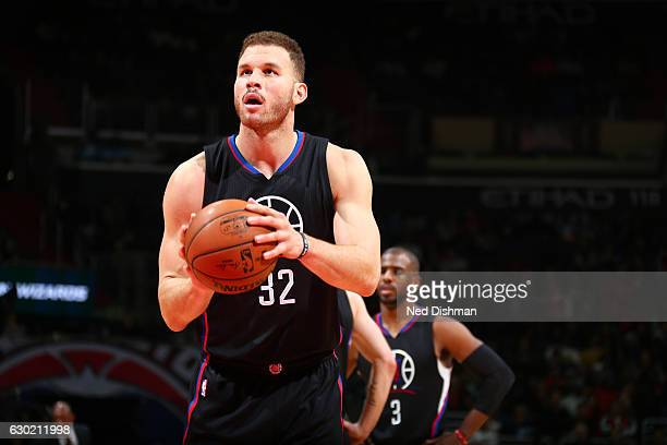 Blake Griffin of the LA Clippers shoots a free throw during a game against the Washington Wizards on December 18 2016 at the Verizon Center in...