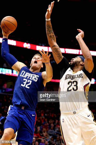 Blake Griffin of the LA Clippers shoots over Anthony Davis of the New Orleans Pelicans during the second half at the Smoothie King Center on November...