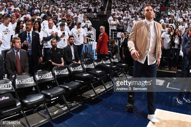 Blake Griffin of the LA Clippers stands on the court before Game Four of the Western Conference Quarterfinals against the Utah Jazz of the 2017 NBA...