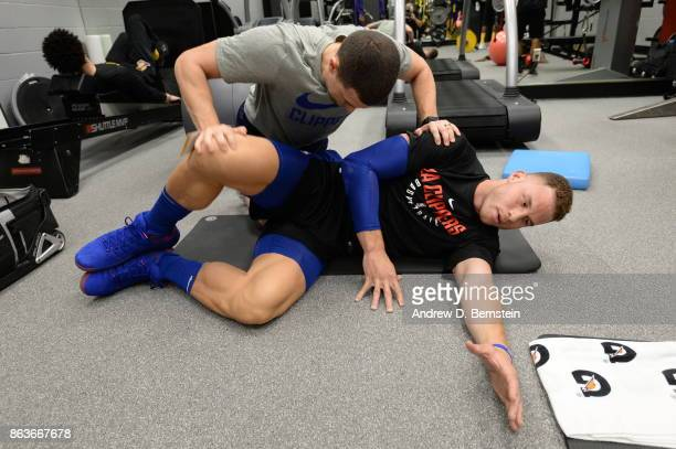 Blake Griffin of the LA Clippers stretche before the game against the Los Angeles Lakers on October 19 2017 at STAPLES Center in Los Angeles...