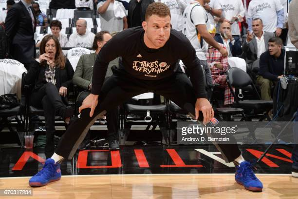 Blake Griffin of the LA Clippers stretches before Game Two of the Western Conference Quarterfinals against the Utah Jazz of the 2017 NBA Playoffs on...