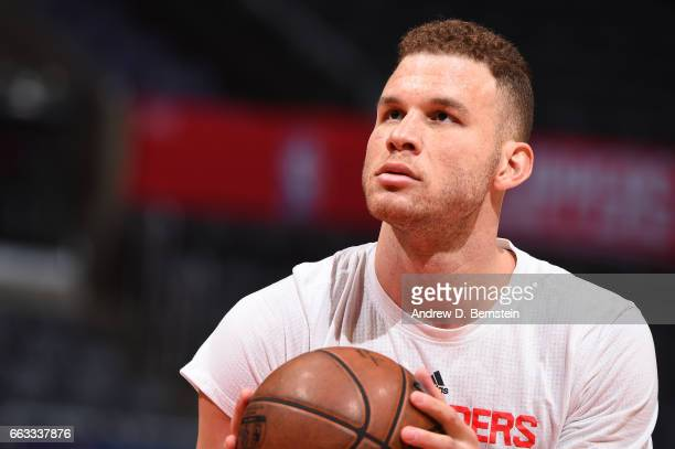 Blake Griffin of the LA Clippers warms up before the game against the Los Angeles Lakers on April 1 2017 at STAPLES Center in Los Angeles California...