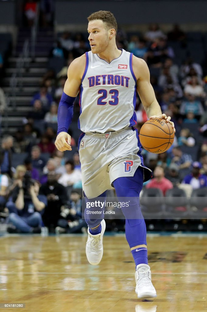Blake Griffin #23 of the Detroit Pistons brings the ball up the court against the Charlotte Hornets during their game at Spectrum Center on February 25, 2018 in Charlotte, North Carolina.