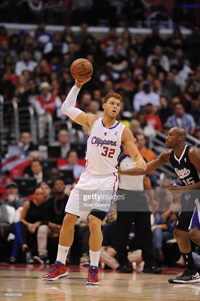 <a gi-track='captionPersonalityLinkClicked' href=/galleries/search?phrase=Blake+Griffin+-+Basketball+Player&family=editorial&specificpeople=4216010 ng-click='$event.stopPropagation()'>Blake Griffin</a> #32 of the Los Angeles Clippers aims to pass during the game between the Los Angeles Clippers and the Sacramento Kings at Staples Center on December 1, 2012 in Los Angeles, California.