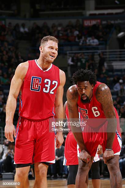 Blake Griffin of the Los Angeles Clippers and DeAndre Jordan of the Los Angeles Clippers talk during the game against the Milwaukee Bucks on December...