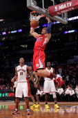 Blake Griffin of the Los Angeles Clippers and the Rookie Team dunks the ball in the first half against the Sophomore Team during the TMobile Rookie...