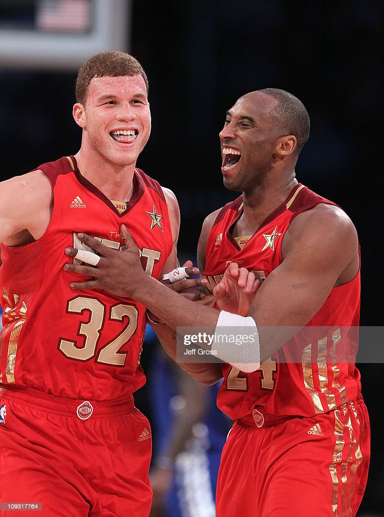 <a gi-track='captionPersonalityLinkClicked' href=/galleries/search?phrase=Blake+Griffin+-+Basketballer&family=editorial&specificpeople=4216010 ng-click='$event.stopPropagation()'>Blake Griffin</a> #32 of the Los Angeles Clippers and the Western Conference and <a gi-track='captionPersonalityLinkClicked' href=/galleries/search?phrase=Kobe+Bryant&family=editorial&specificpeople=201466 ng-click='$event.stopPropagation()'>Kobe Bryant</a> #24 of the Los Angeles Lakers and the Western Conference react in the second half of the 2011 NBA All-Star Game at Staples Center on February 20, 2011 in Los Angeles, California.