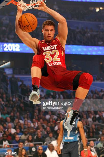 Blake Griffin of the Los Angeles Clippers and the Western Conference dunks during the 2012 NBA AllStar Game at the Amway Center on February 26 2012...