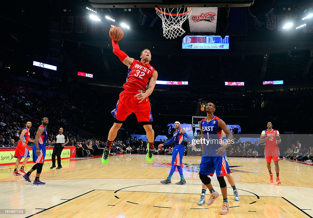 Blake Griffin #32 of the Los Angeles Clippers and the Western Conference goes up for the dunk in the first half during the 2013 NBA All-Star game at the Toyota Center on February 17, 2013 in Houston, Texas.