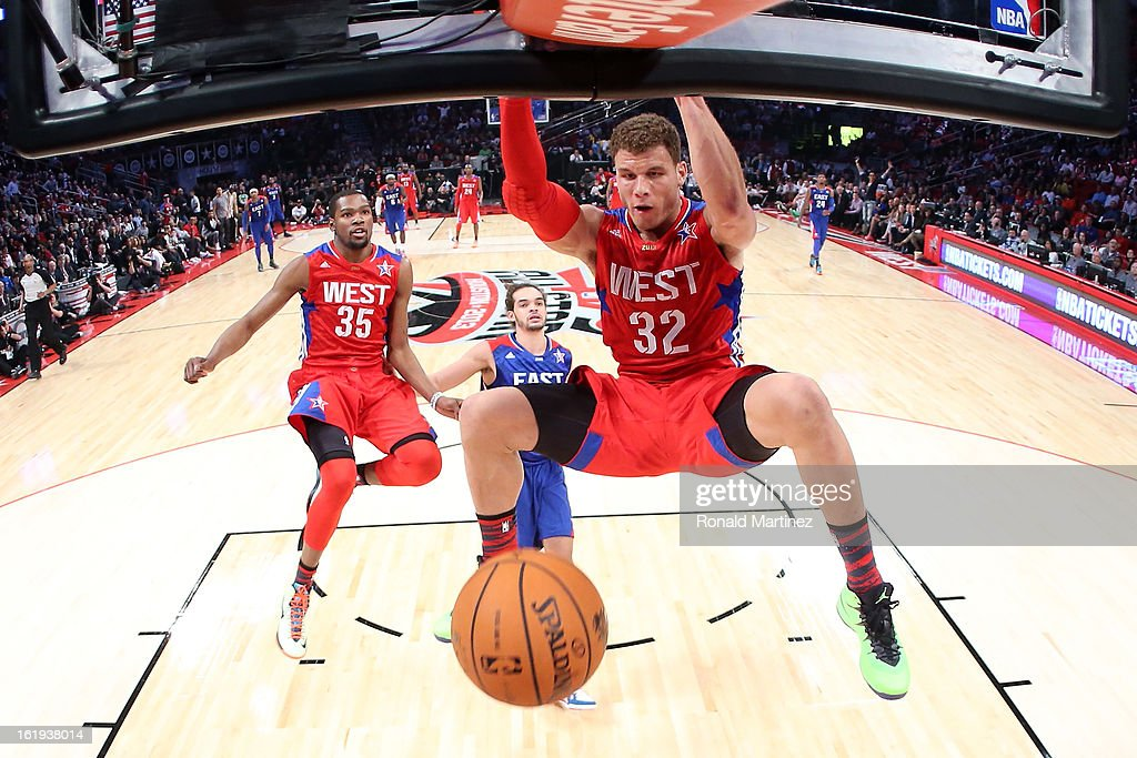 Blake Griffin #32 of the Los Angeles Clippers and the Western Conference dunks the ball during the 2013 NBA All-Star game at the Toyota Center on February 17, 2013 in Houston, Texas.