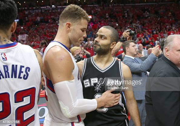 Blake Griffin of the Los Angeles Clippers and Tony Parker of the San Antonio Spurs meet after Game Seven of the Western Conference quarterfinals of...