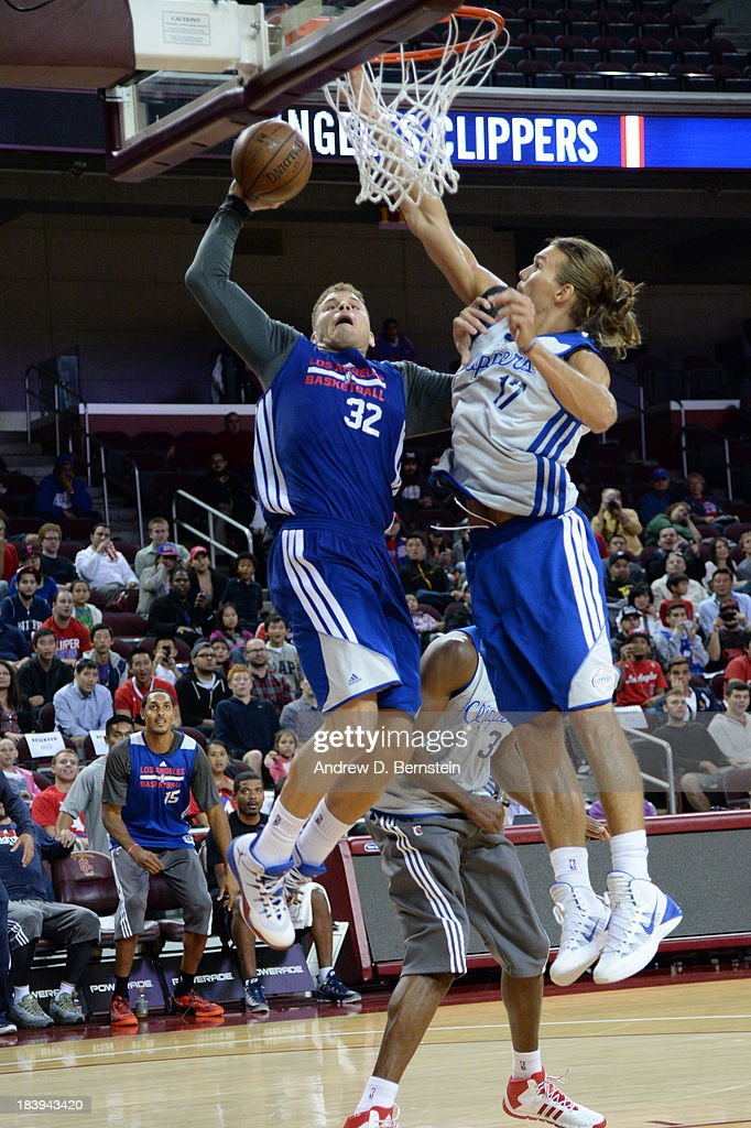 Blake Griffin #32 of the Los Angeles Clippers attempts a dunk against Lou Amundson #17 of the Los Angeles Clippers during an open scrimmage at Galen Center on October 9, 2013 in Los Angeles, California.