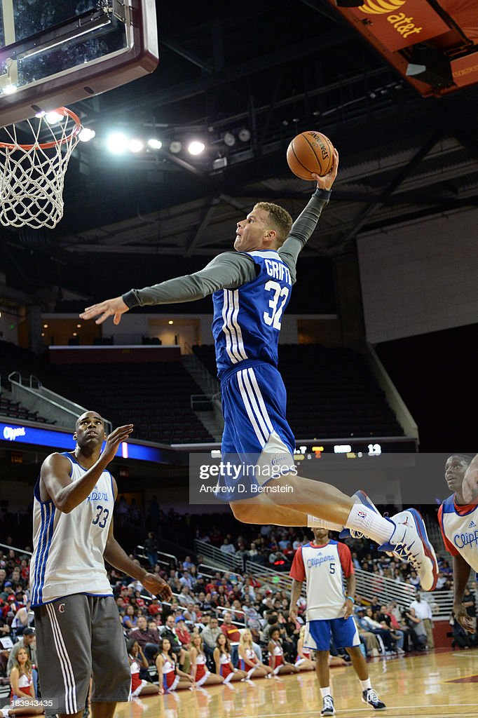 Blake Griffin #32 of the Los Angeles Clippers attempts a dunk during an open scrimmage at Galen Center on October 9, 2013 in Los Angeles, California.