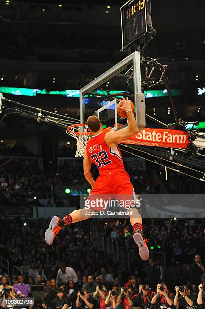 Blake Griffin of the Los Angeles Clippers attempts a dunk during the Sprite Slam Dunk Contest as part of the 2011 AllStar Saturday Night presented by...