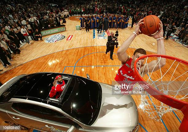 Blake Griffin of the Los Angeles Clippers attempts a dunk during the 2011 Sprite Slam Dunk Contest at Staples Center on February 19 2011 in Los...