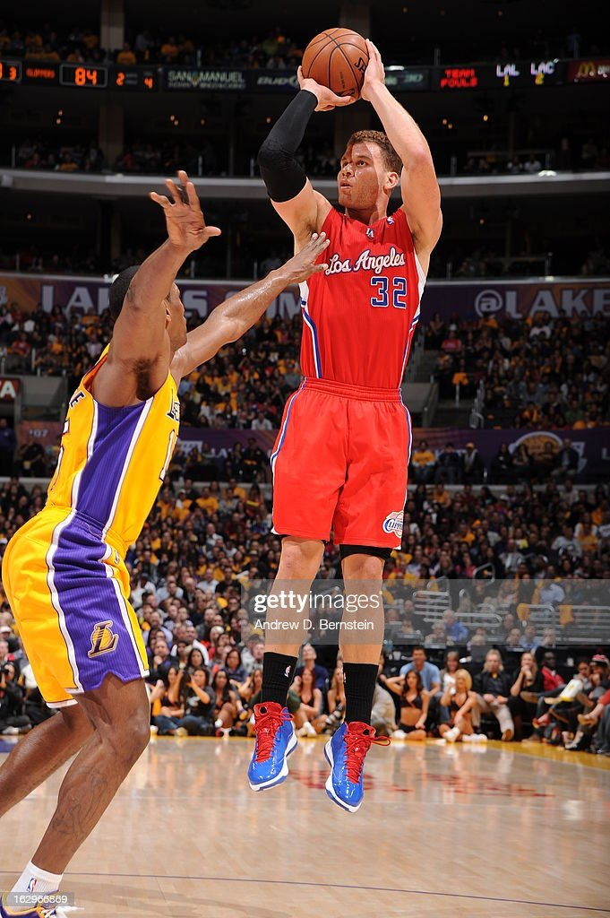 <a gi-track='captionPersonalityLinkClicked' href=/galleries/search?phrase=Blake+Griffin+-+Basketball+Player&family=editorial&specificpeople=4216010 ng-click='$event.stopPropagation()'>Blake Griffin</a> #32 of the Los Angeles Clippers attempts a jumpshot against the Los Angeles Lakers at Staples Center on February 14, 2013 in Los Angeles, California.
