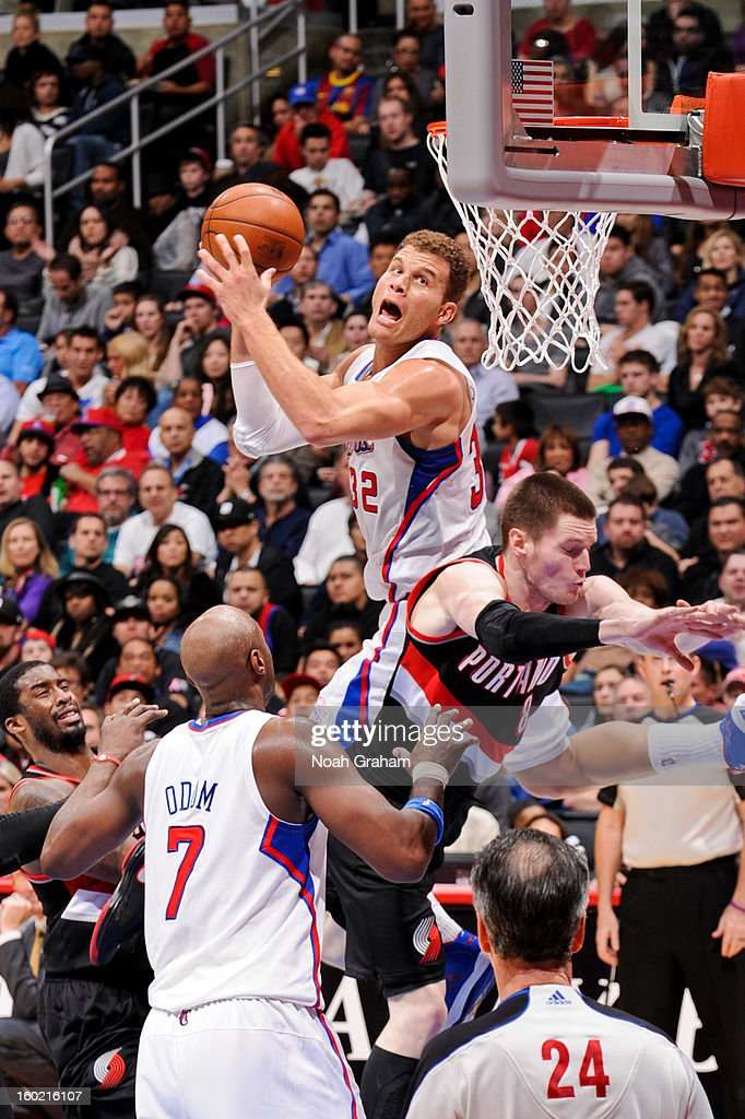 <a gi-track='captionPersonalityLinkClicked' href=/galleries/search?phrase=Blake+Griffin&family=editorial&specificpeople=4216010 ng-click='$event.stopPropagation()'>Blake Griffin</a> #32 of the Los Angeles Clippers attempts a shot against <a gi-track='captionPersonalityLinkClicked' href=/galleries/search?phrase=Luke+Babbitt&family=editorial&specificpeople=5122155 ng-click='$event.stopPropagation()'>Luke Babbitt</a> #8 of the Portland Trail Blazers at Staples Center on January 27, 2013 in Los Angeles, California.